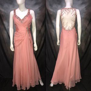 Beaded Sheer Salmon Pink Long Pageant or Prom Gown